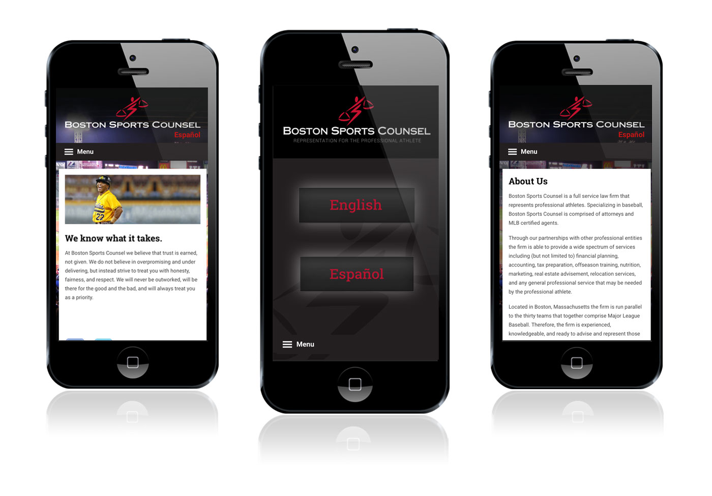 Mobile website design for Boston Sports Counsel
