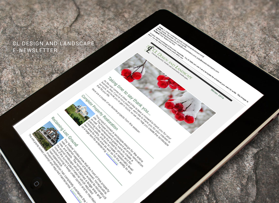 E-Newsletter design for CL Design & Landscape