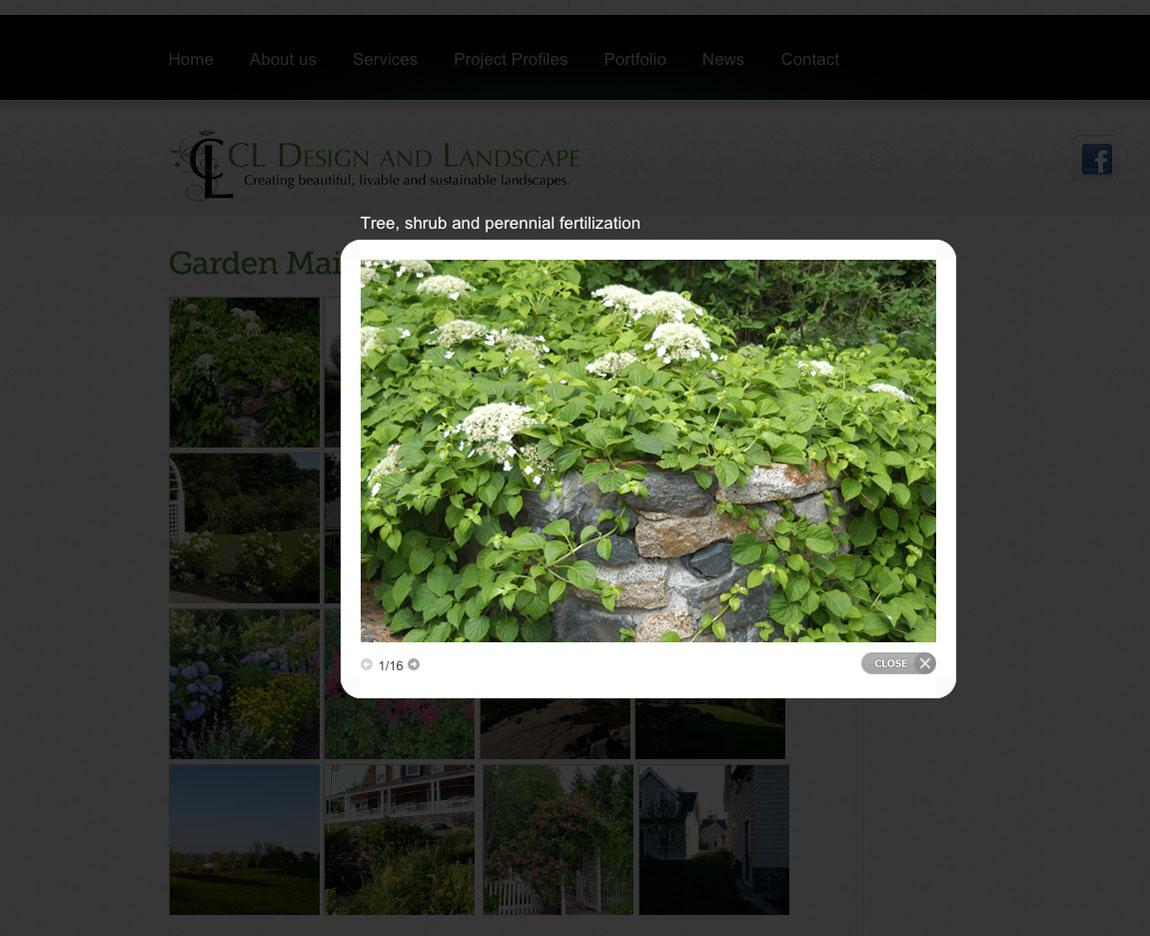 CL Design Website portfolio page popout