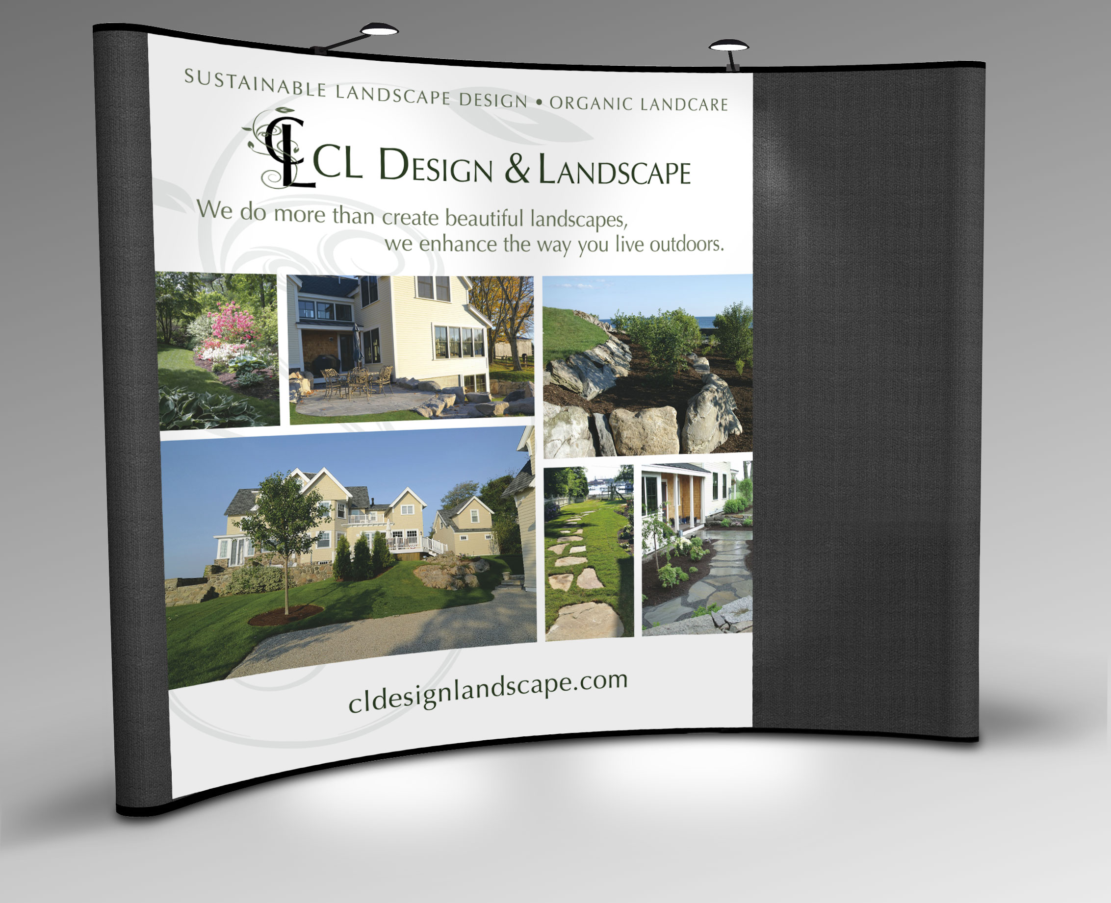 Tradeshow display graphic for CL Design and Landscape