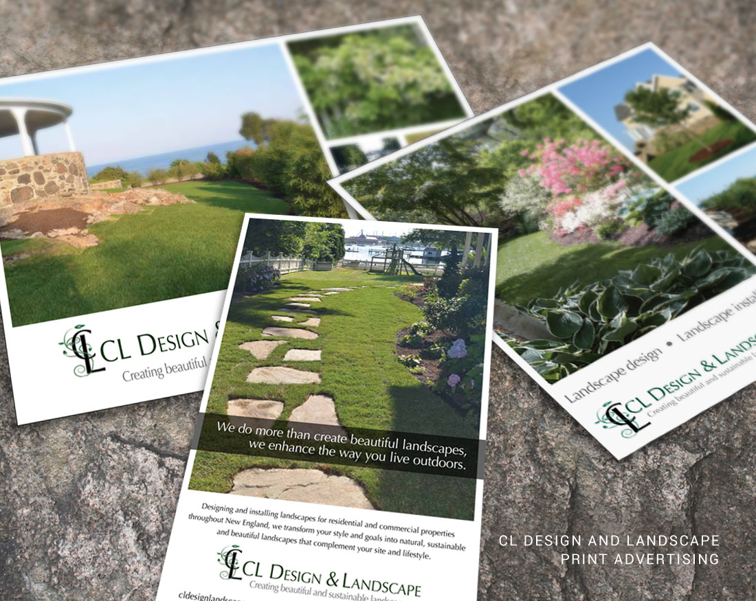 Print advertising design for CL Design and Landscape