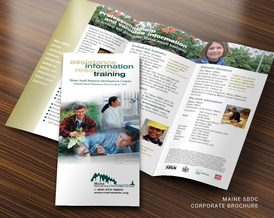 Corporate Brochure design for Maine SBDC