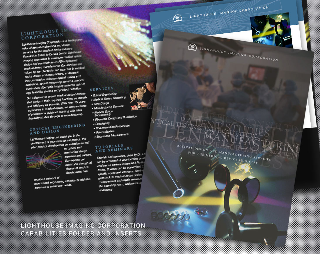Wood and Company design of print brochures and sales inserts for Lighthouse Imaging