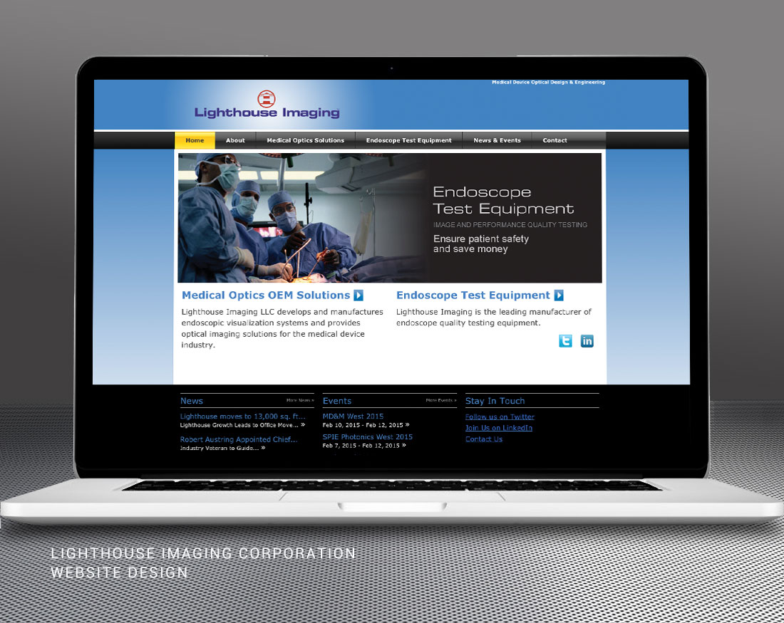 Wood and Company website design for Lighthouse Imaging Corp.