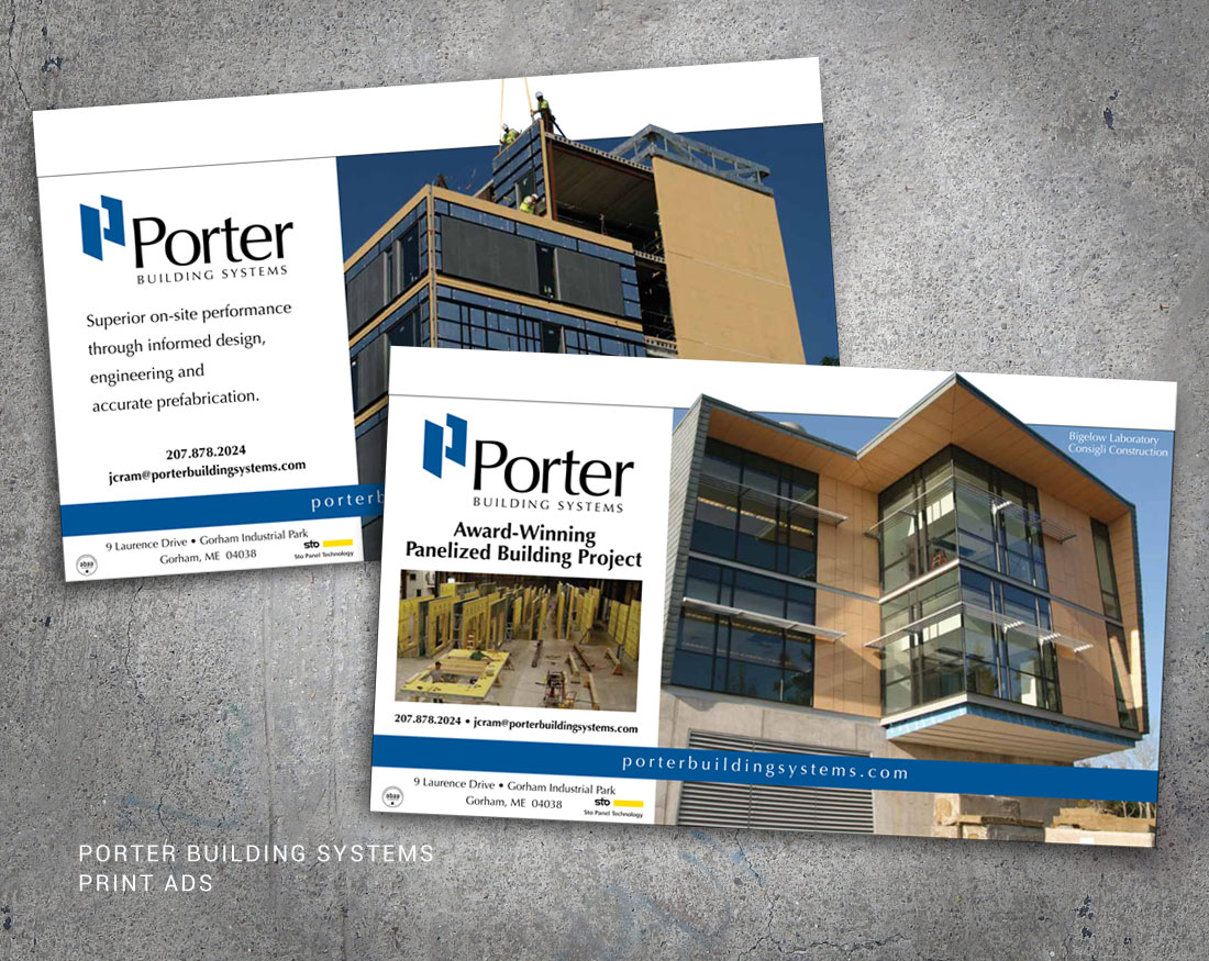 Wood and Company's print advertising for Porter Building Systems