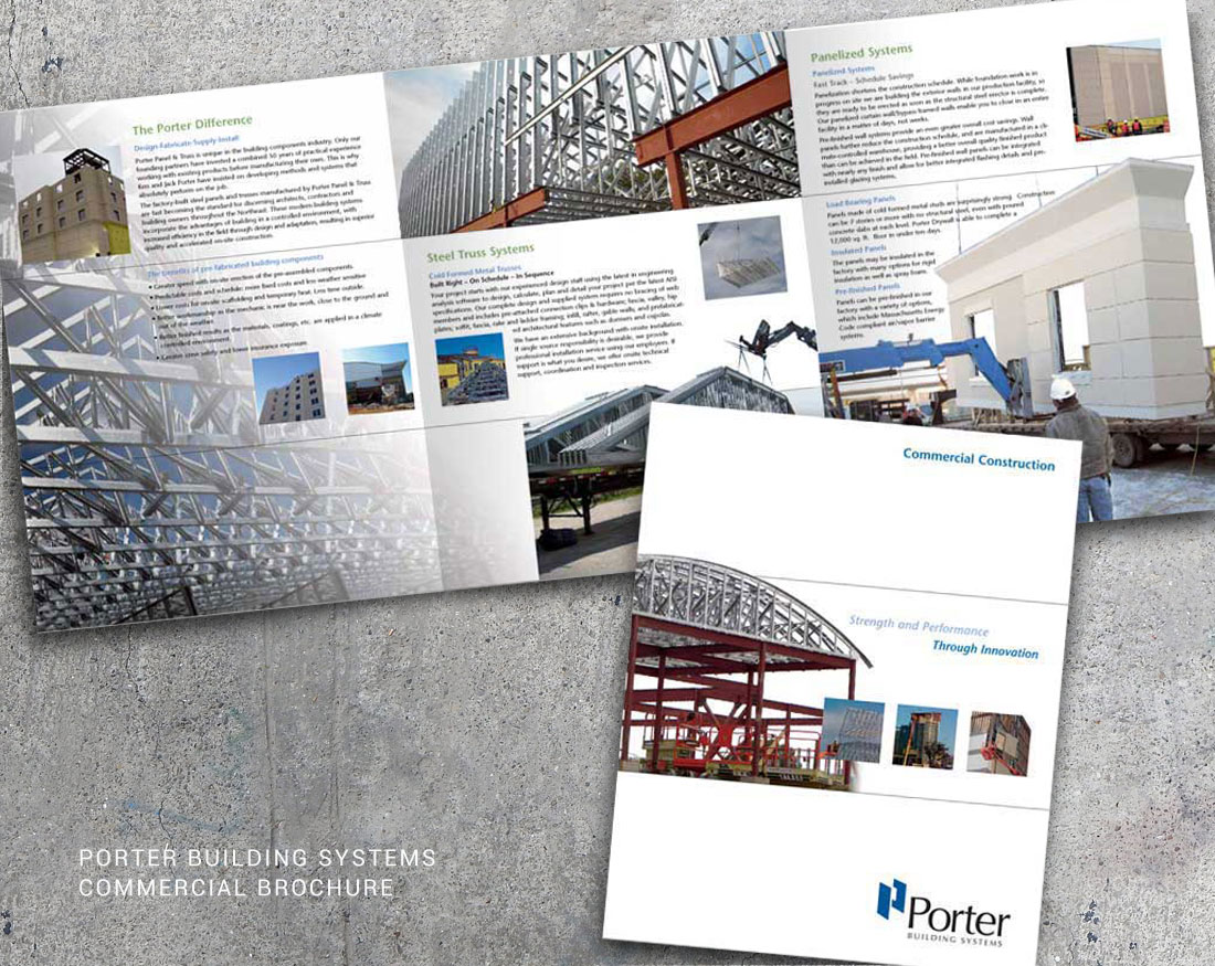 Wood and Company brochure design for Porter Building Systems