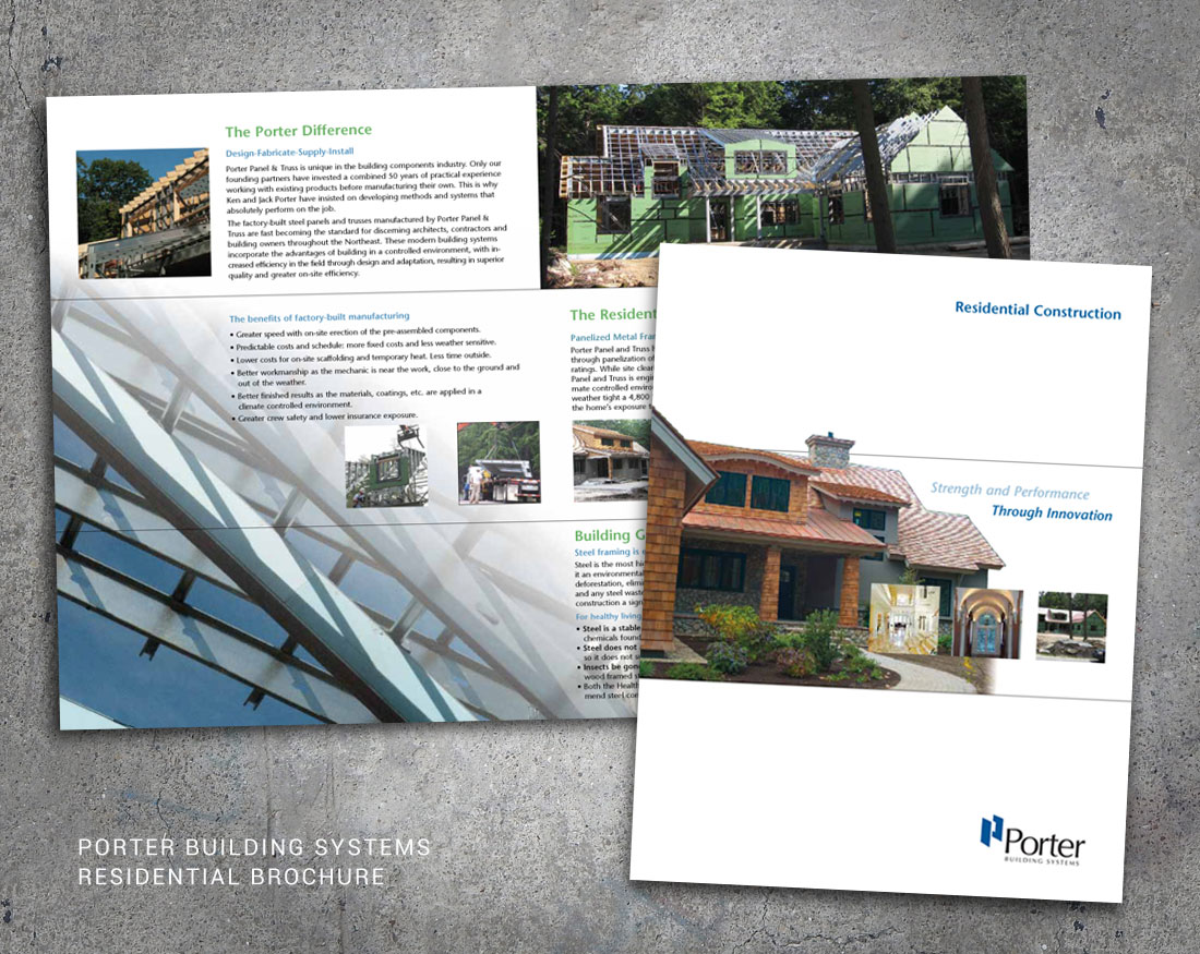 Wood and Company design for Porter Building System Residential Brochure