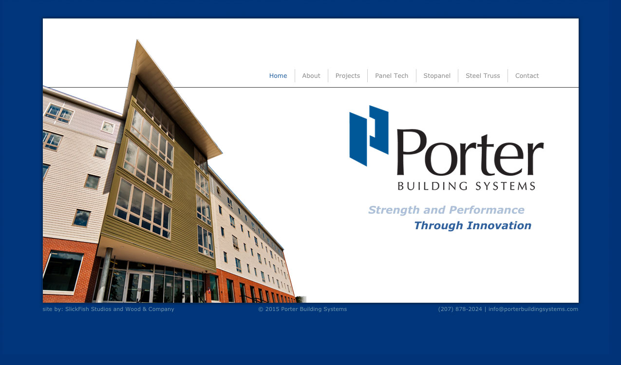 Porter Building Systems Website home page 1