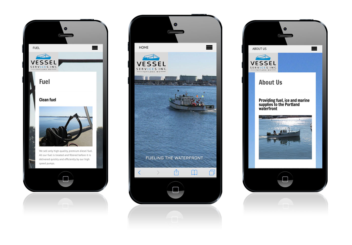 Wood and Company mobile website design for Vessel Services