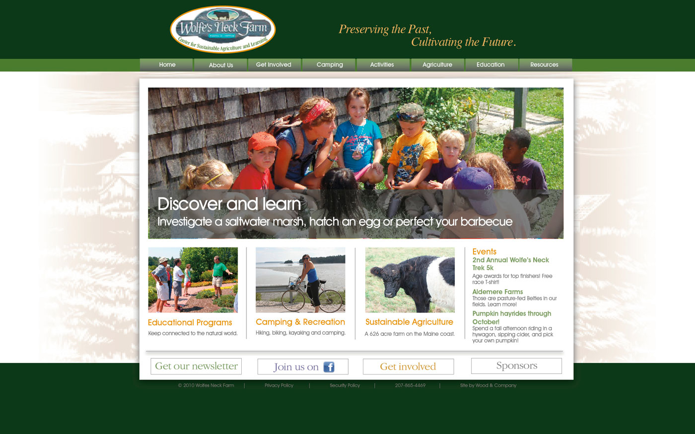 Wolfes Neck Farm website about page