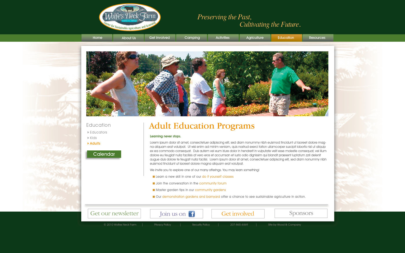 Wolfes Neck Farm website adult education page