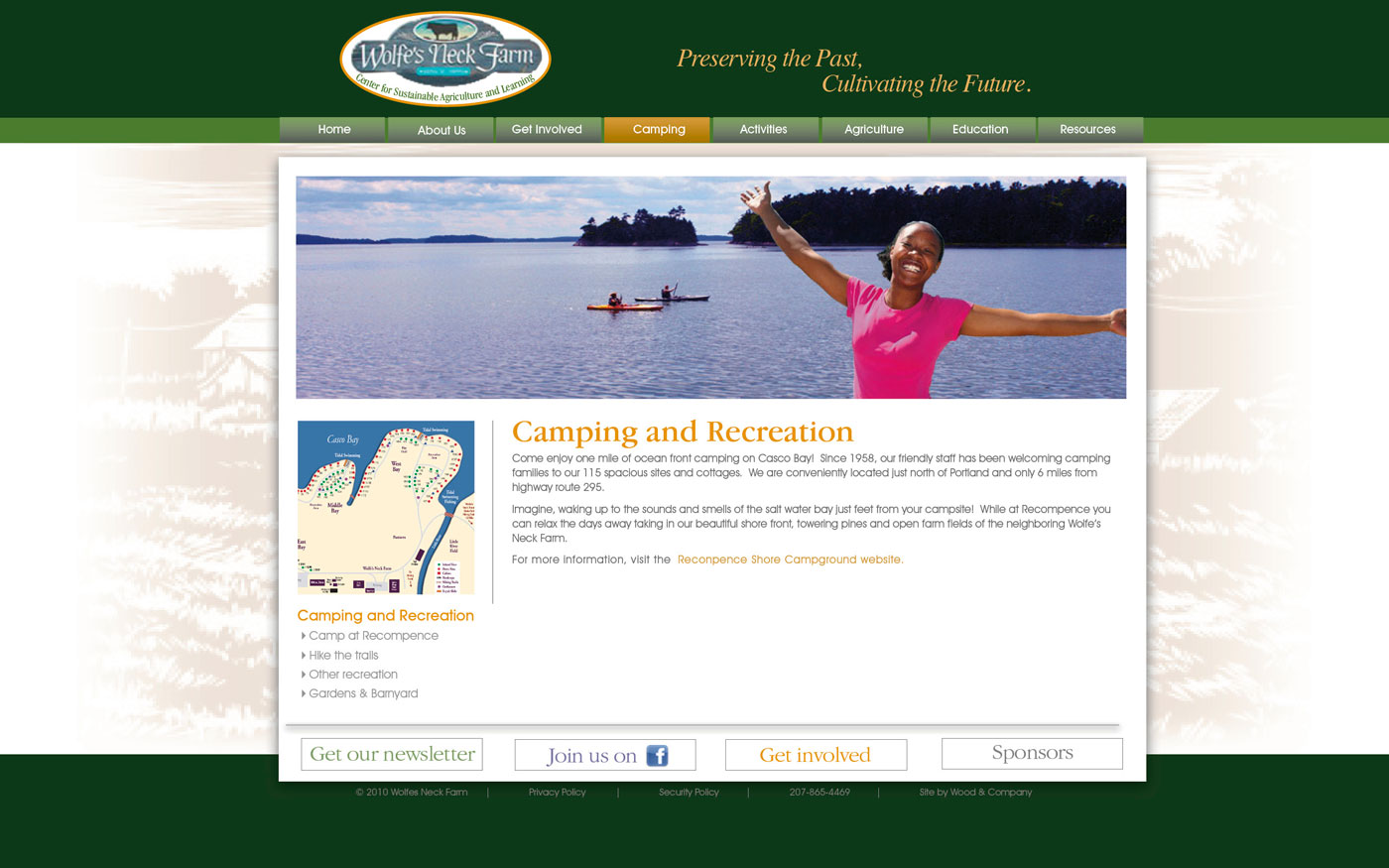 Wolfes Neck Farm website camping page