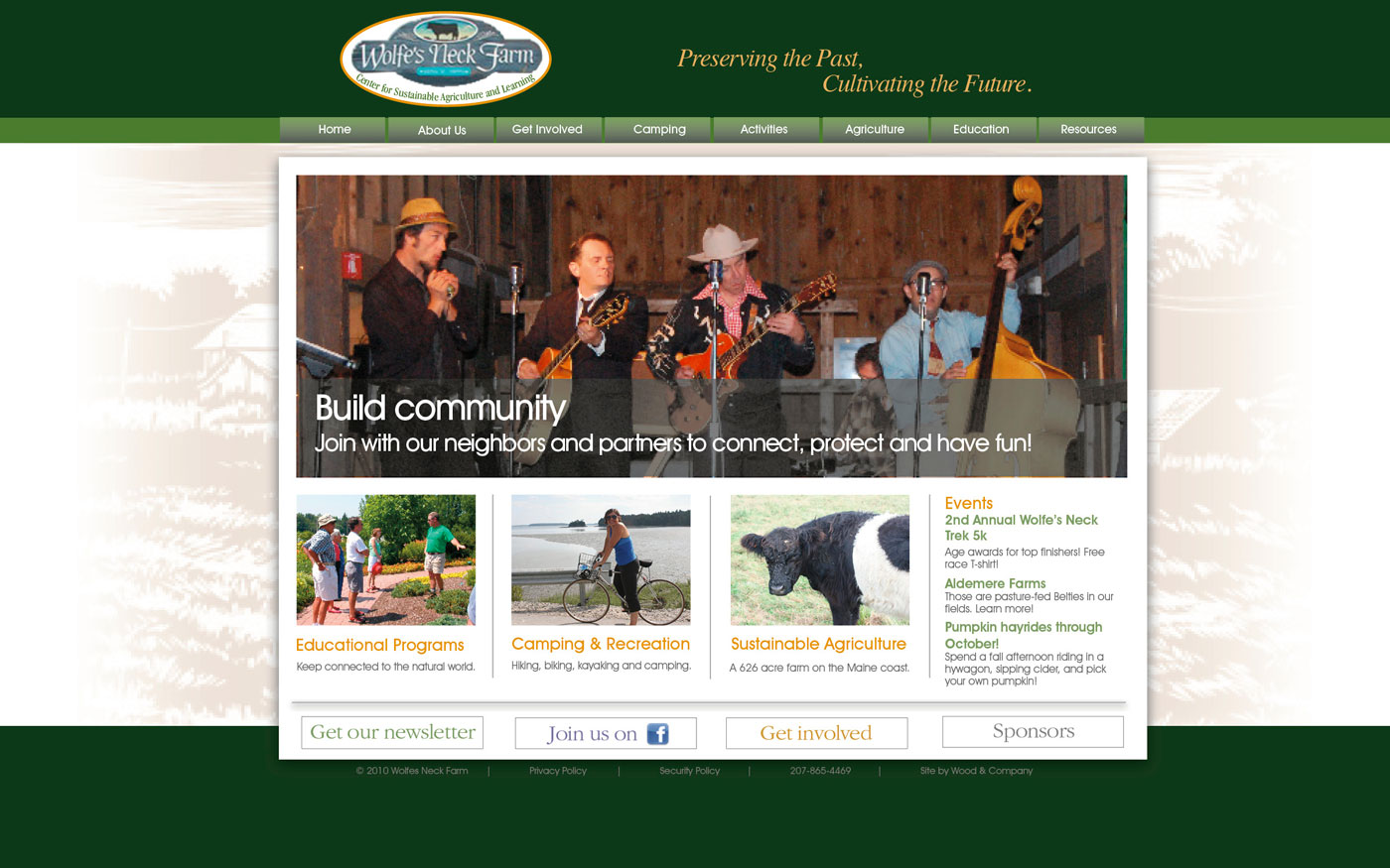 Wolfes Neck Farm website home page 2