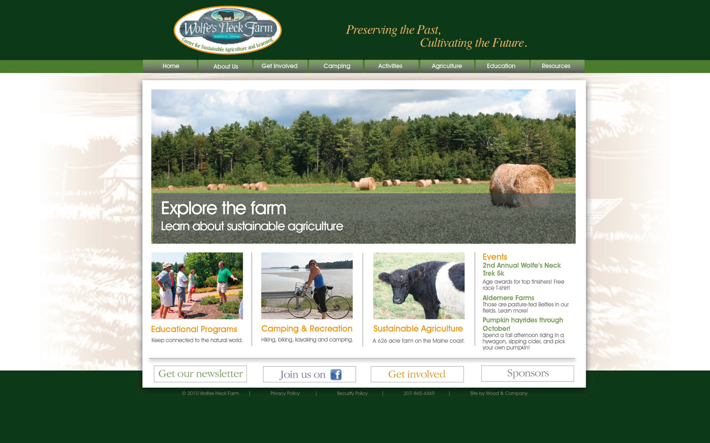 Wolfes Neck Farm website home page 3
