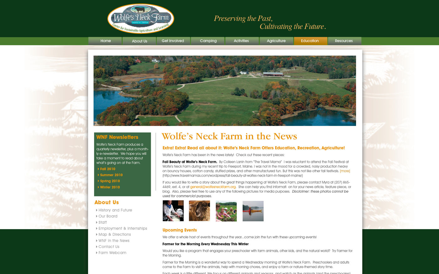 Wolfes Neck Farm website news page