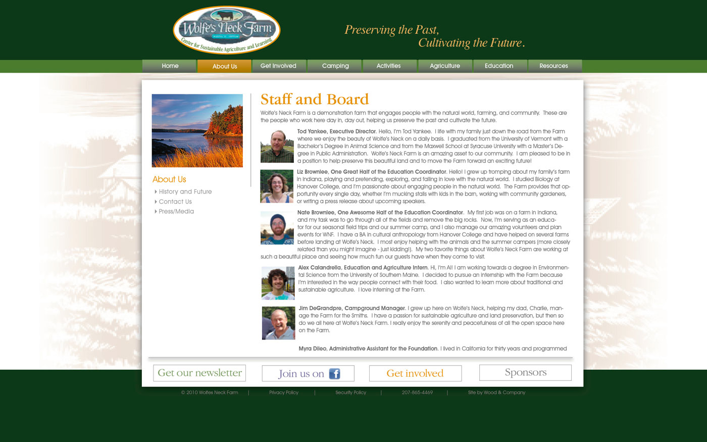 Wolfes Neck Farm website staff page