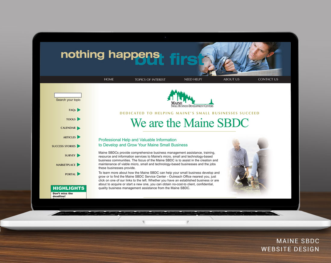 Website design for Maine SBDC