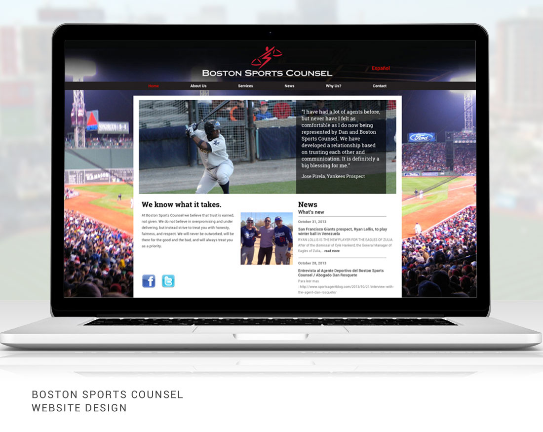 Website design for Boston Sports Counsel