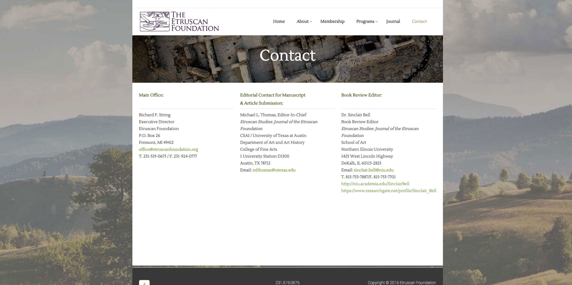 Website design contact page for Etruscan Foundation