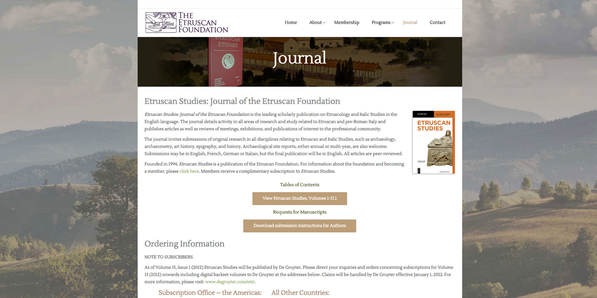 Website design Journal page for Etruscan Foundation