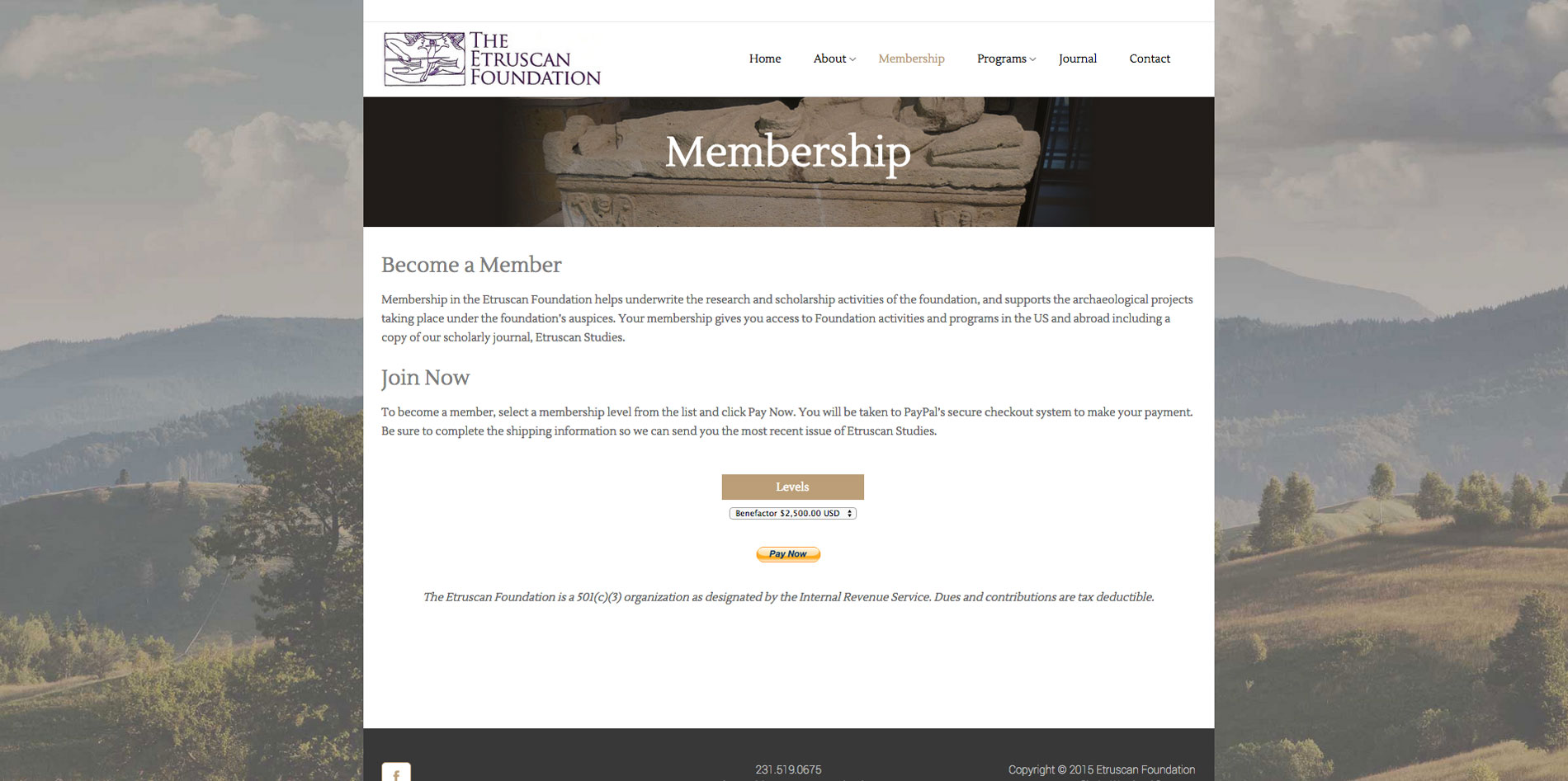Website design Membership page for Etruscan Foundation