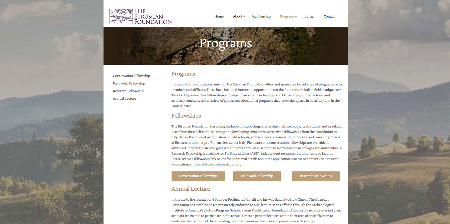 Website design Programs page for Etruscan Foundation