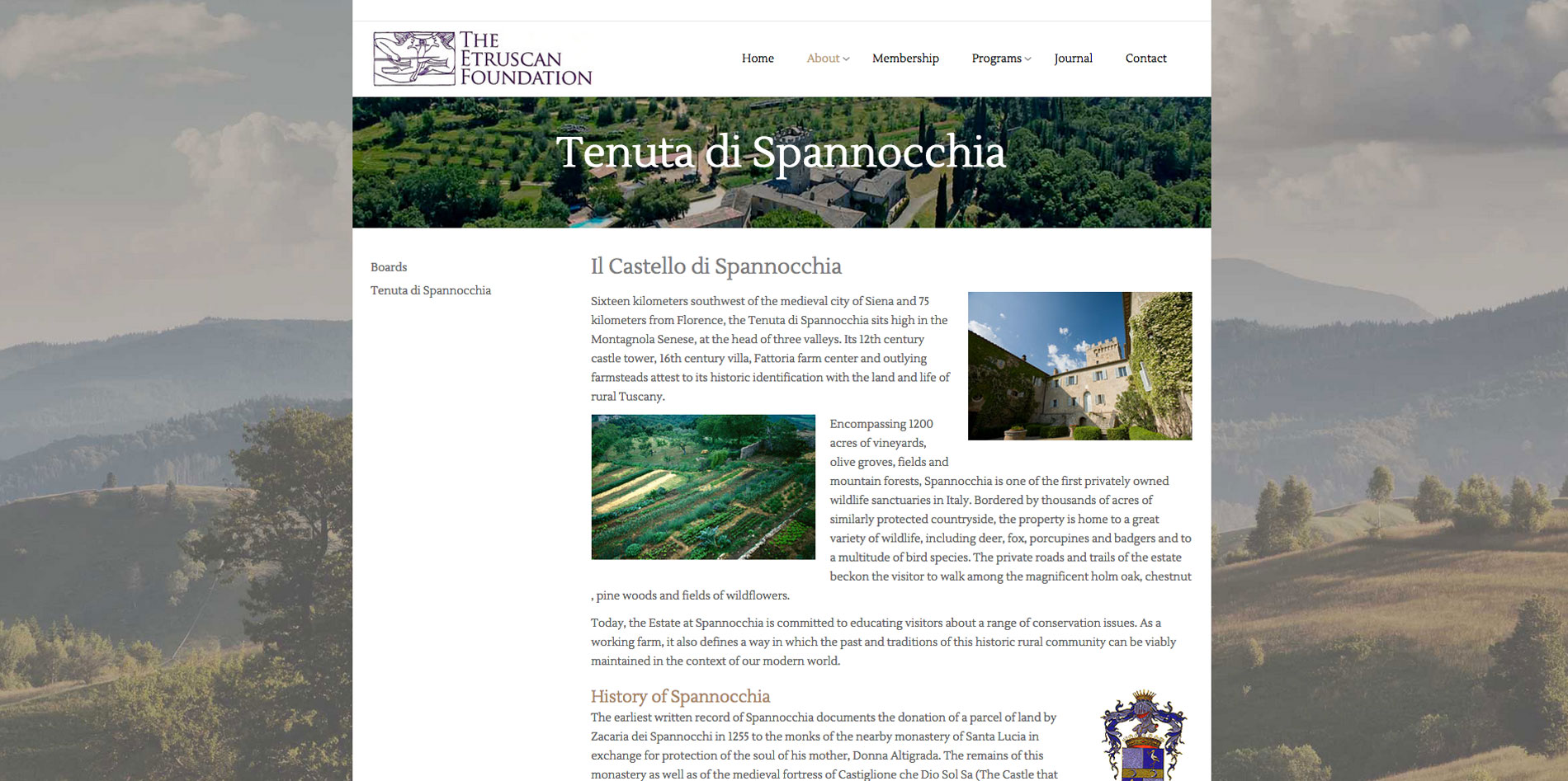 Website design Spannocchia page for Etruscan Foundation