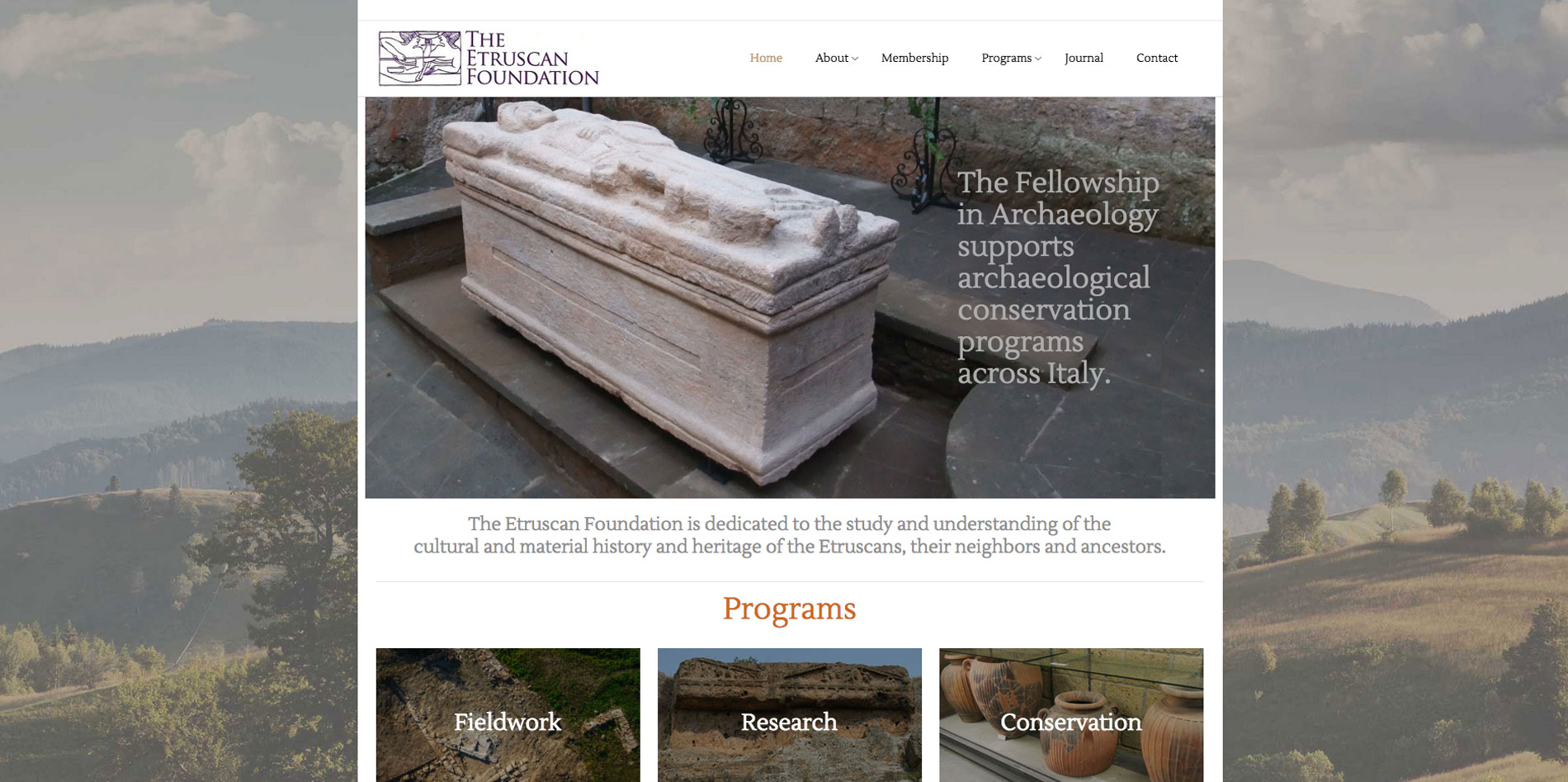 Website design home page 1 for Etruscan Foundation