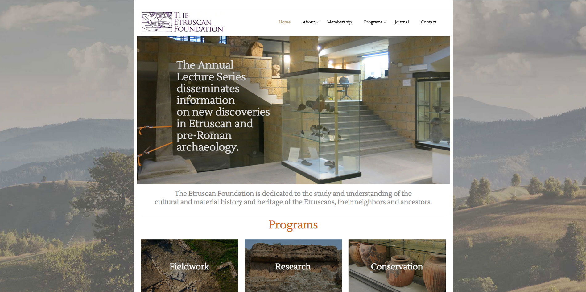 Website design home page 2 for Etruscan Foundation