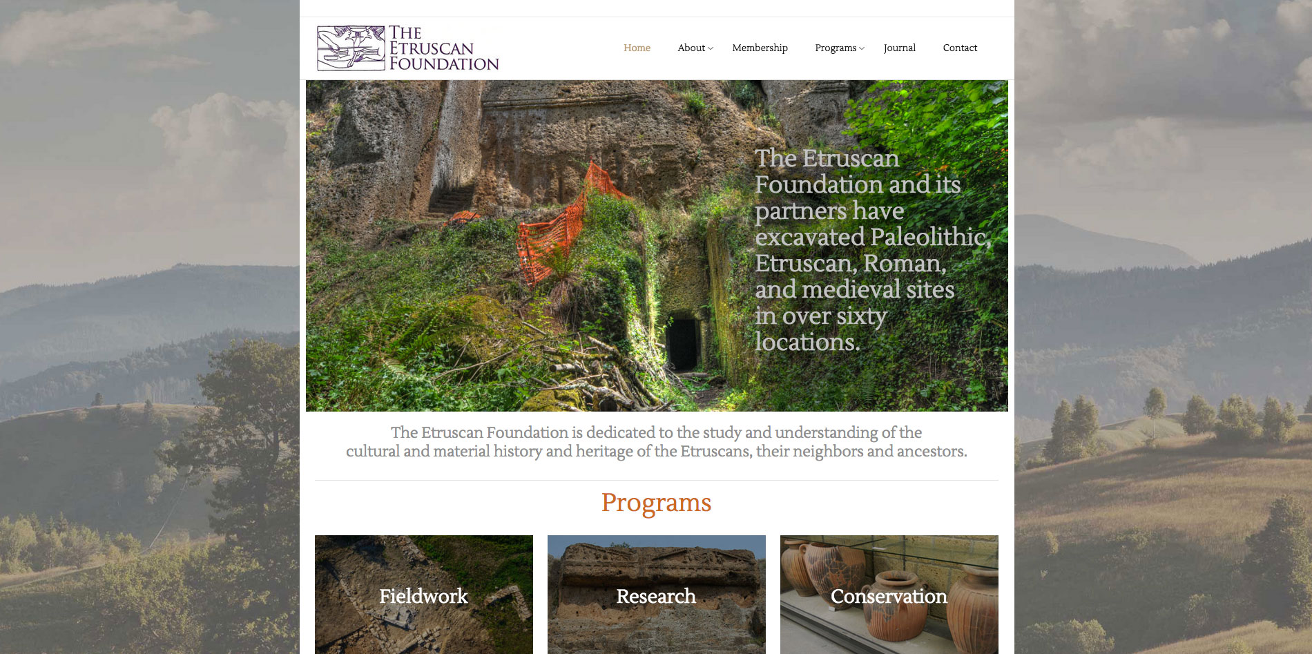 Website design home page 3 for Etruscan Foundation