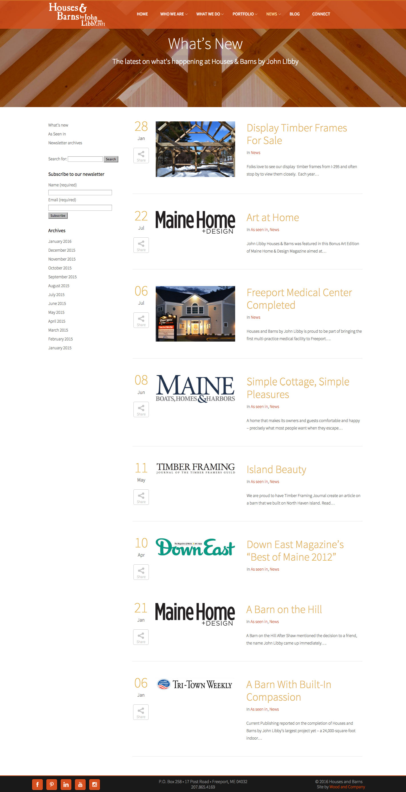Houses & Barns News Page