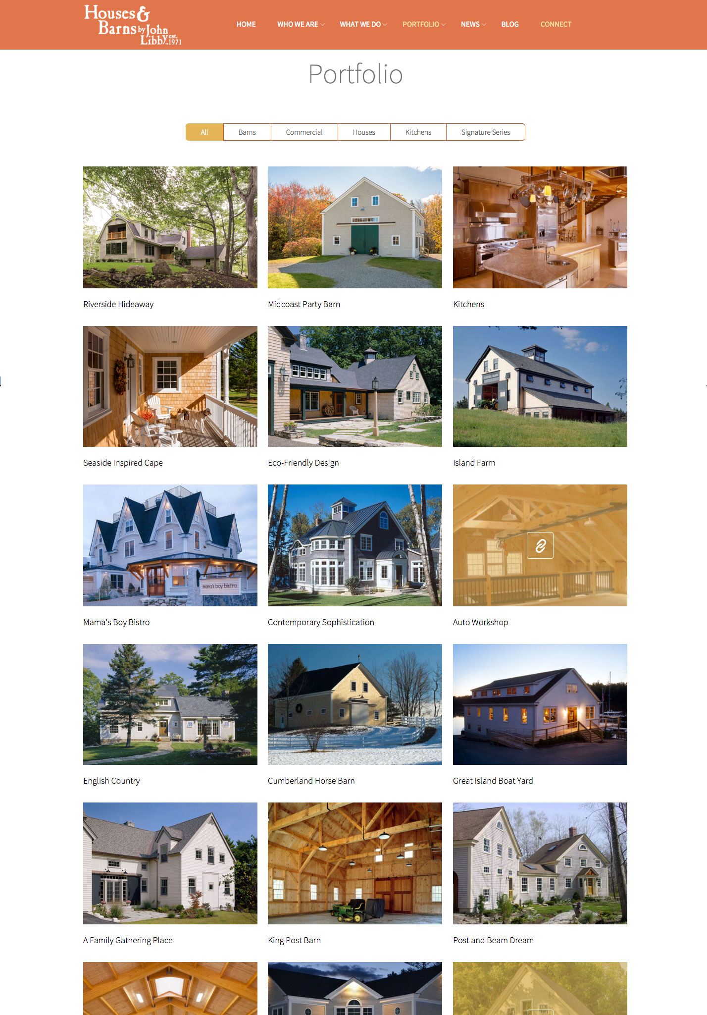 Houses & Barns website portfolio