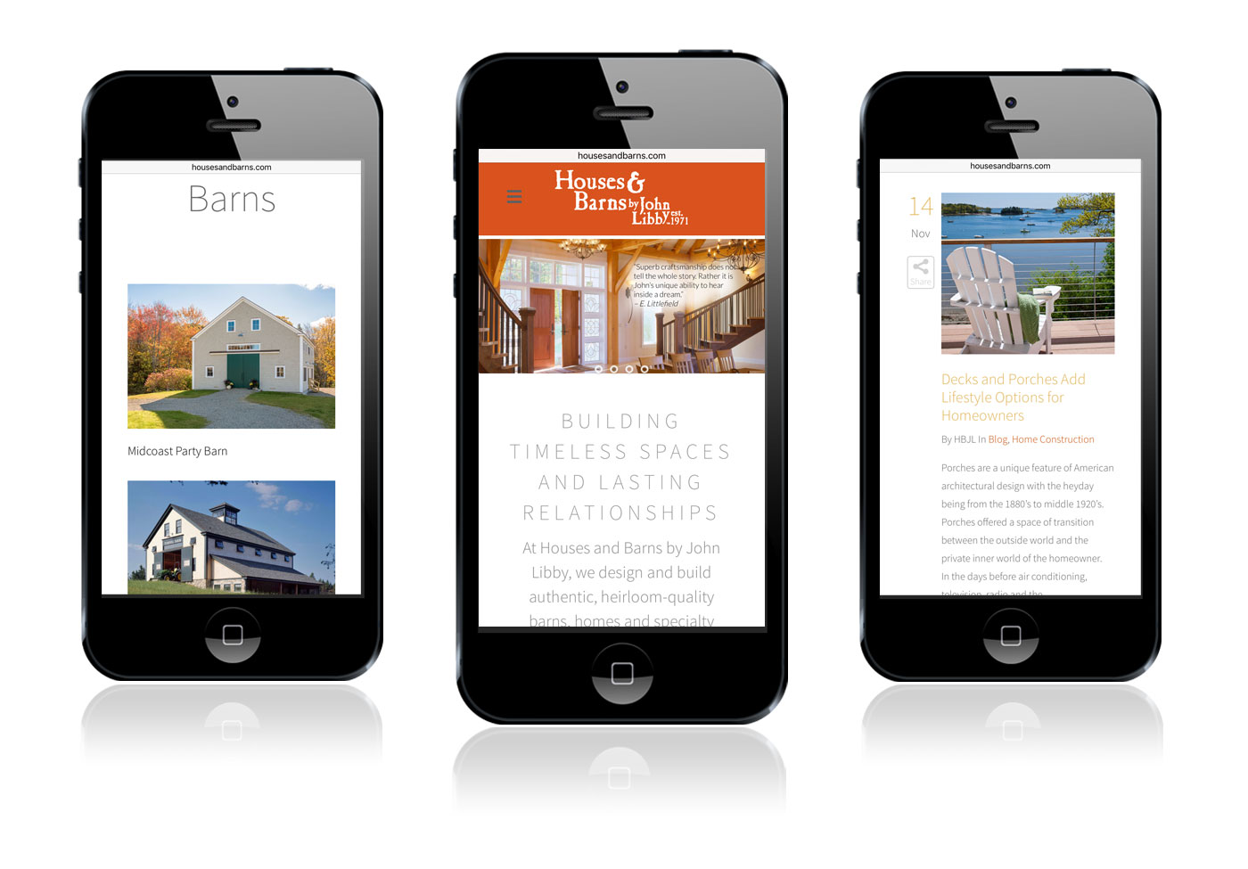 Houses & Barns mobile site