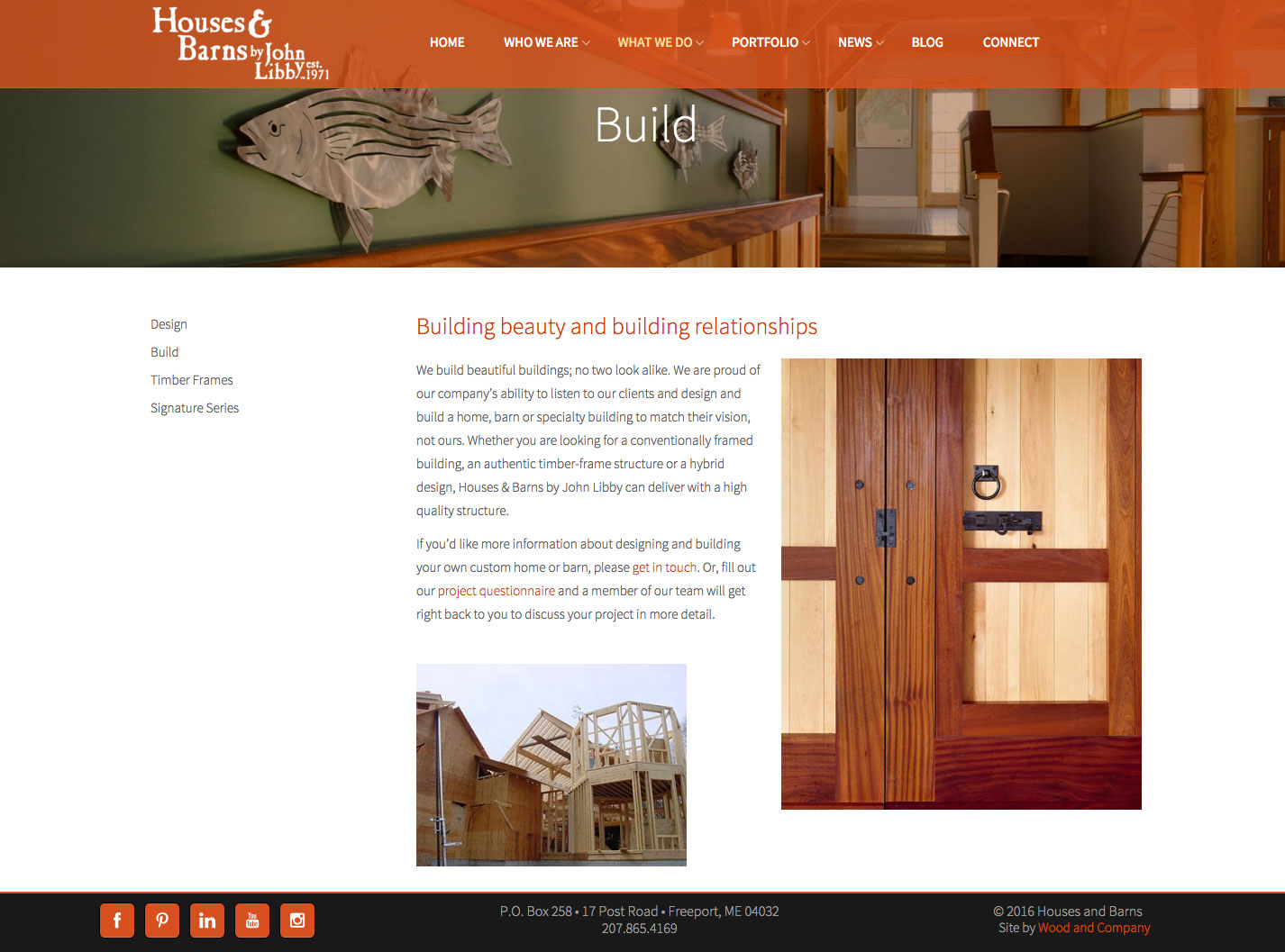 Houses & Barns website building services