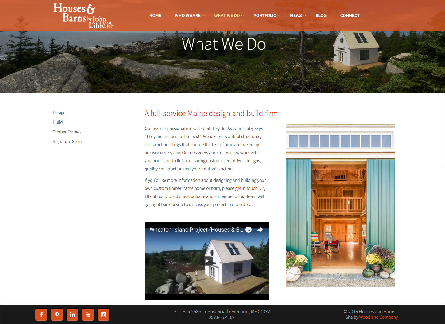 Houses & Barns website what we do