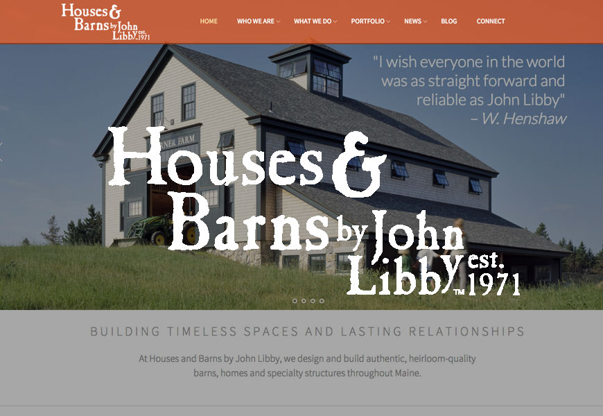 Houses & Barns website design