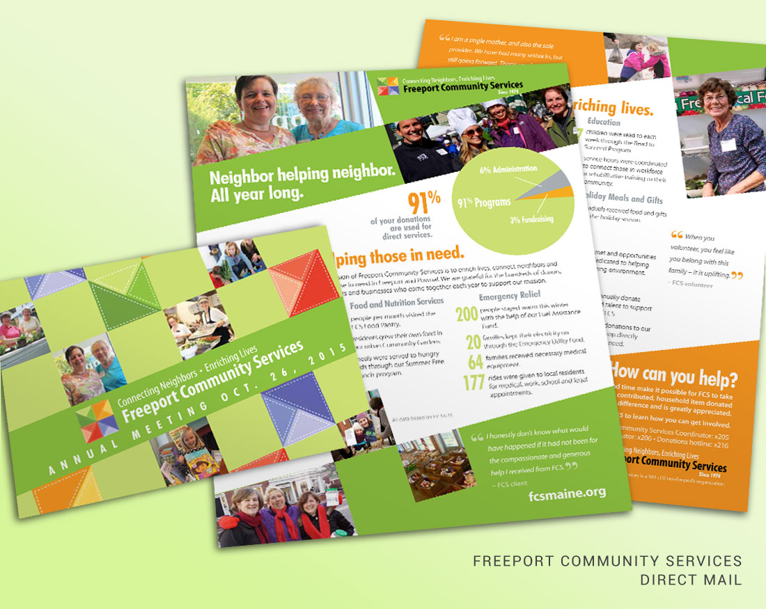 Direct mail design for Freeport Community Services