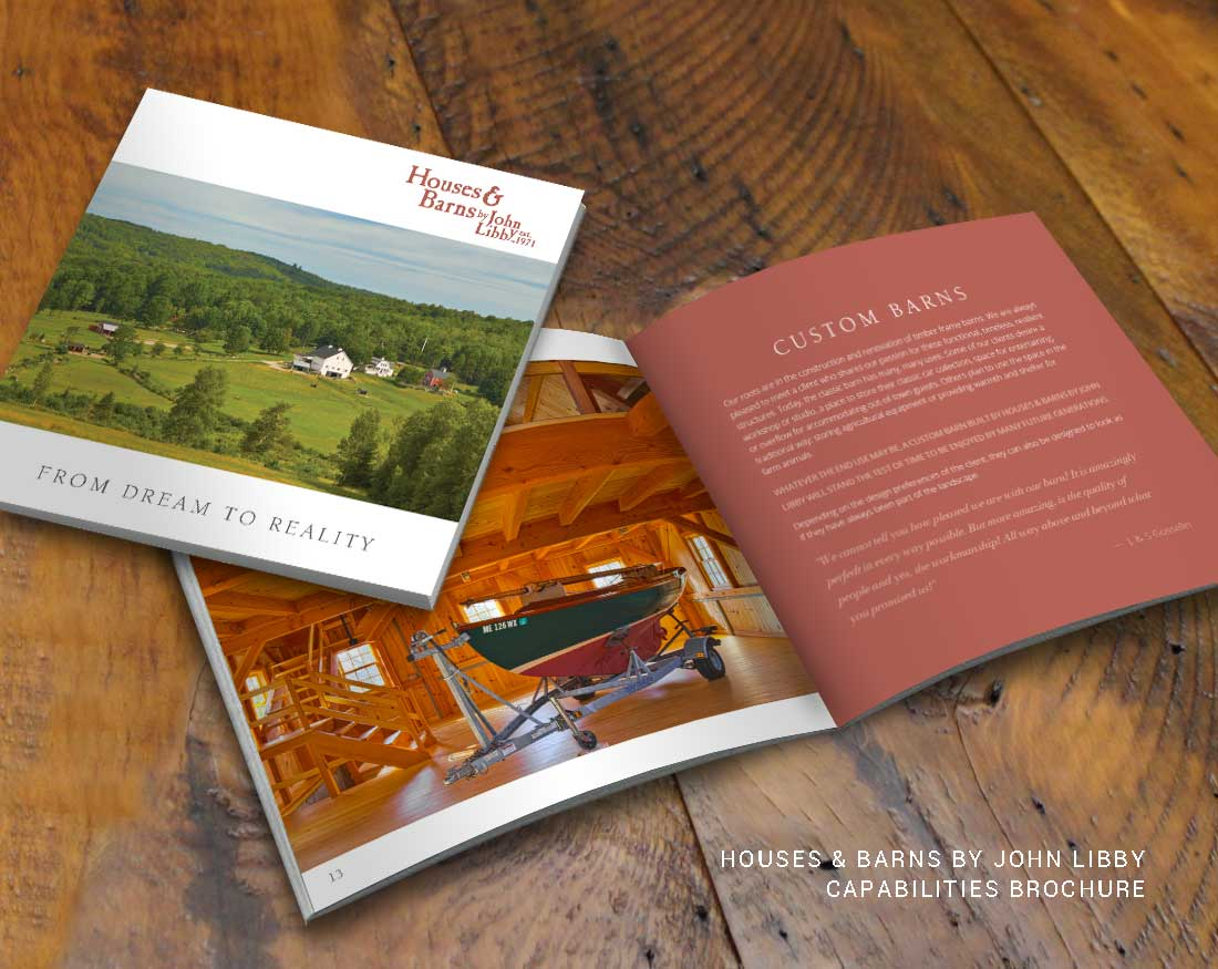 Brochure design for Houses & Barns by John Libby