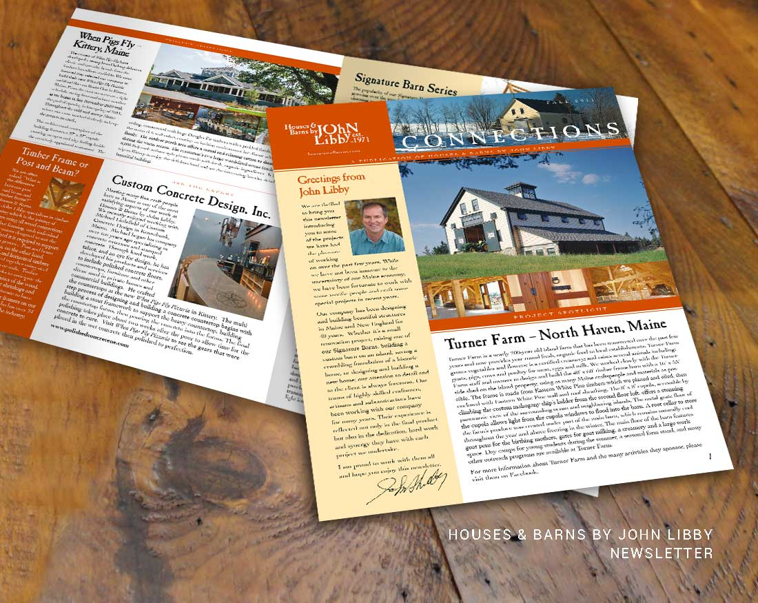 Newsletter design for Houses and Barns by John Libby