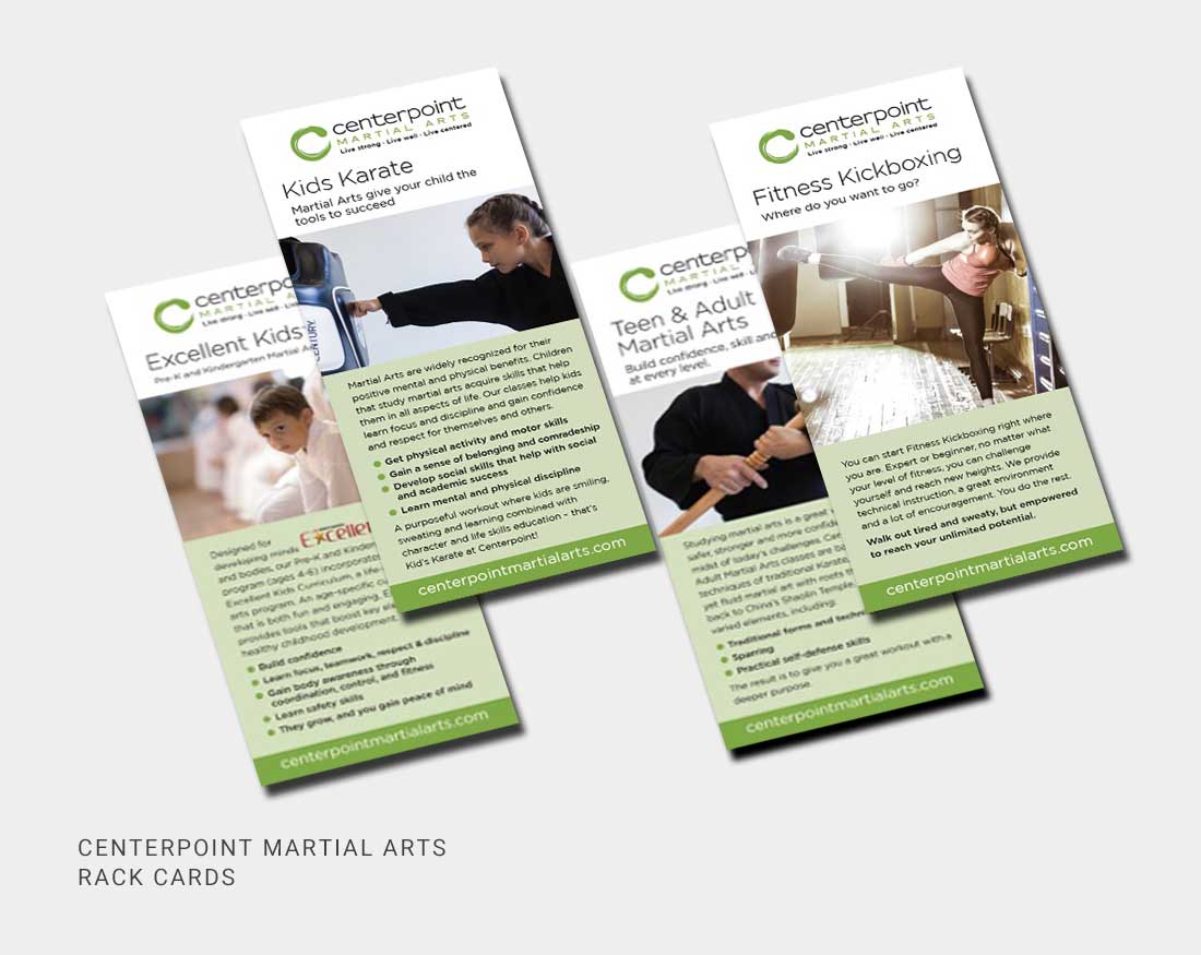 Rack card design for Centerpoint Martial Arts