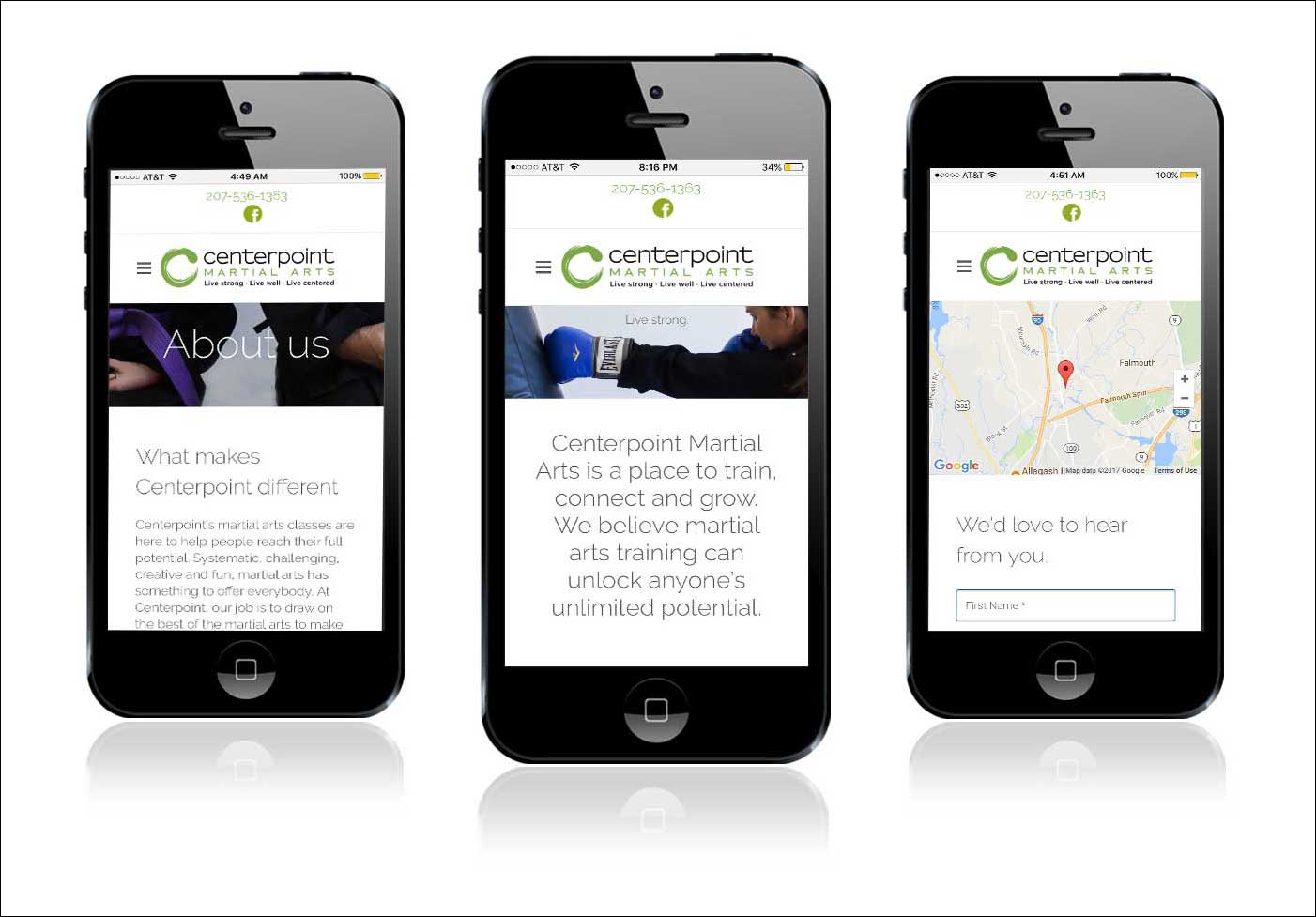 Centerpoint Martial Arts mobile responsive website