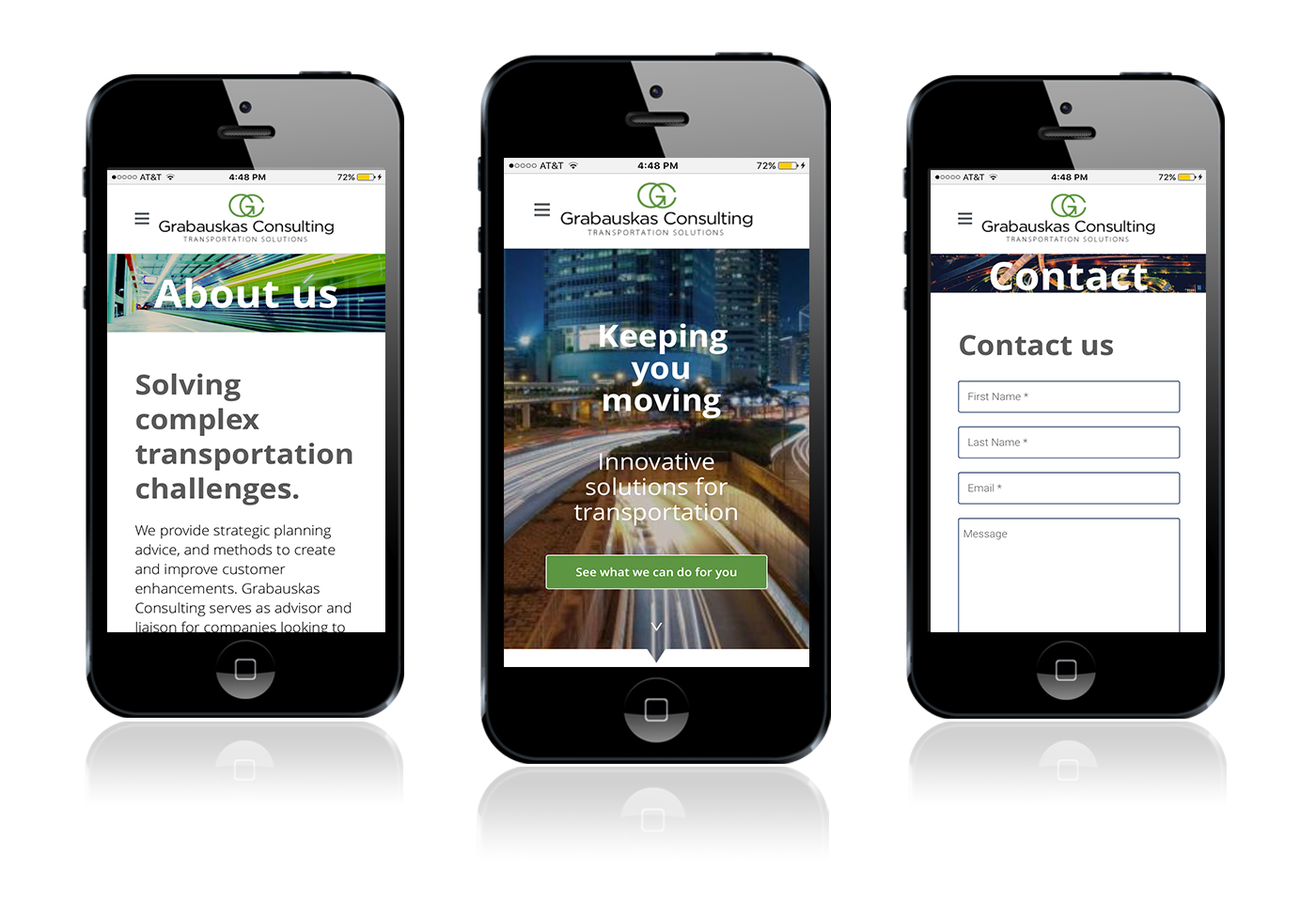 Mobile website for transportation consultant
