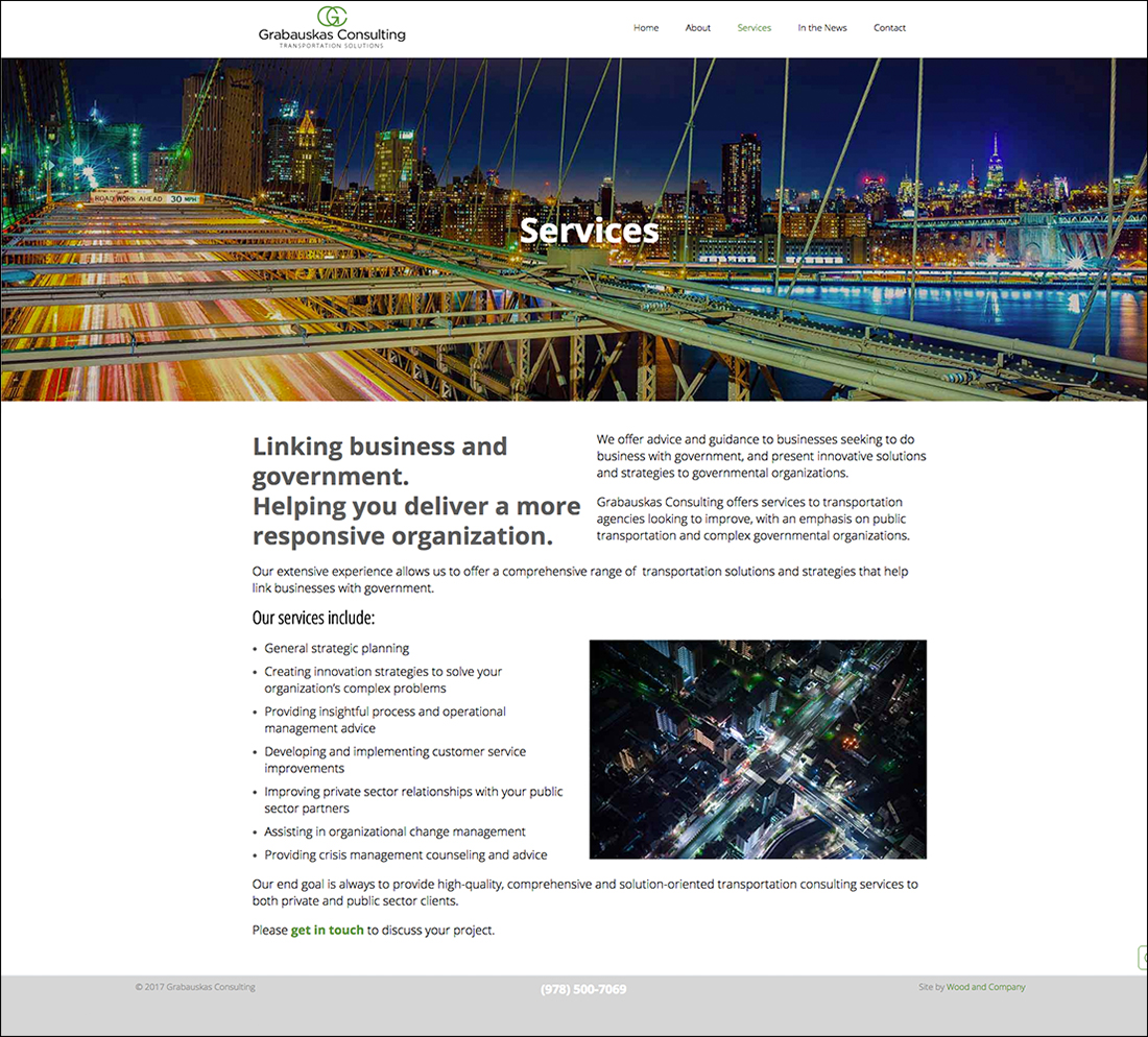 Services for transportation consulting website