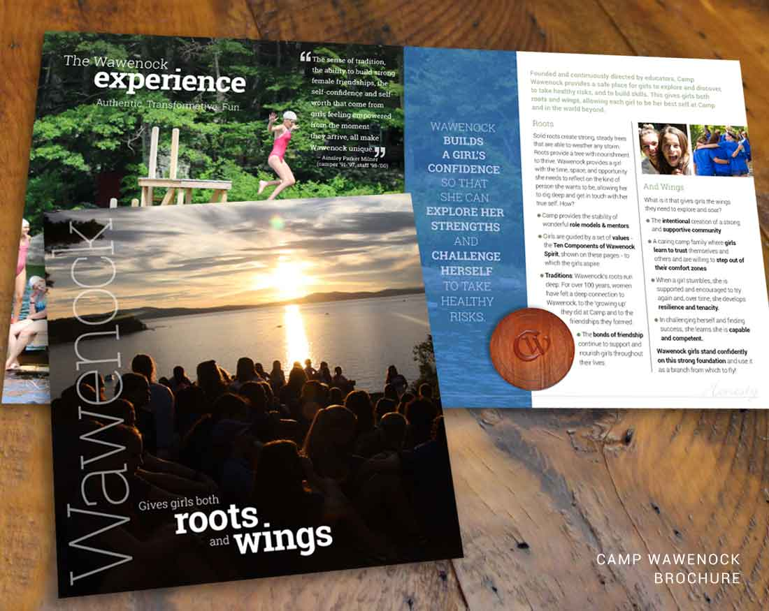 Brochure design by Wood and Company for Camp Wawenock