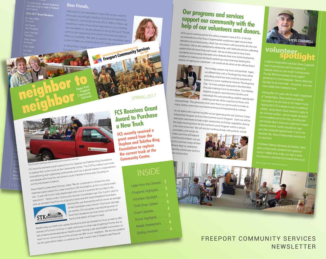 Newsletter design for Freeport Community Services